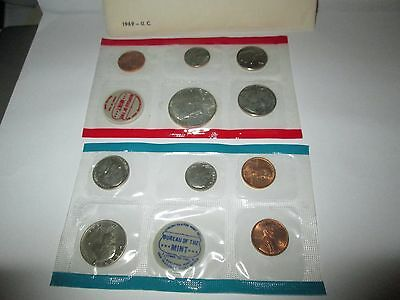 1969 United States 10 Coin Mint Set in Cellophane