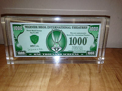 Warner Bros Int Theatres May 25, 2000 One Thousand Screens Paperweight