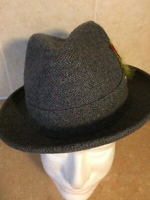 Vintage LEE Hat Gray Tweed Wool Blend Feathered Union Tag Sz 6 7/8  Made in USA