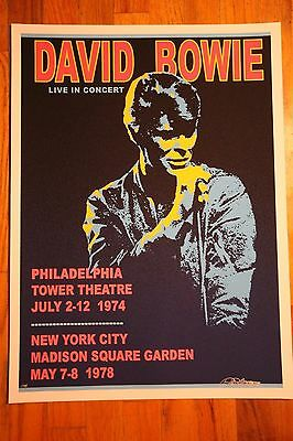 David Bowie Tower Theatre 1974 show poster Artist edition signed Bob Masse