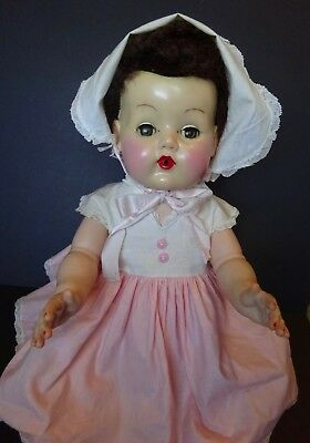 """Vintage American Character Doll Tiny Tears Brunette Rooted Wig 18"""" Very Nice Dol"""