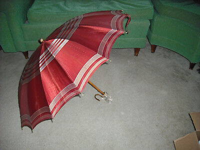 """Vintage SMALL RED Umbrella Curved with Wood SHAFT, NEAT HANDLE . 32"""" ROUND. WOW."""