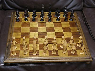 Vintage Finely Carved African Chess Set