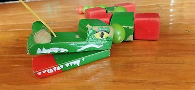 Vintage Walter West Germany Wood Alligator Pull Toy