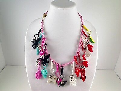 Vintage 1980's Bell Clip PLASTIC CHARM NECKLACE - 16 Charms In All