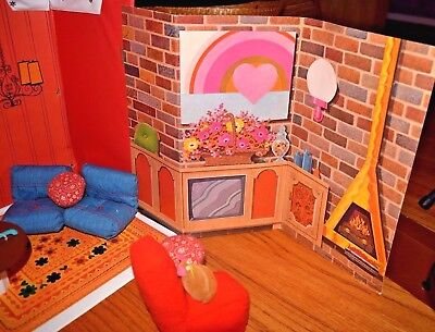 Vtg Mid Century 60s Barbie House with add'l Cardboard Rooms and 70s Furniture