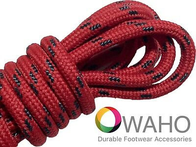 Heavy Duty Red Shoe / Boot Laces Reinforced with Black Dupont™ Kevlar®