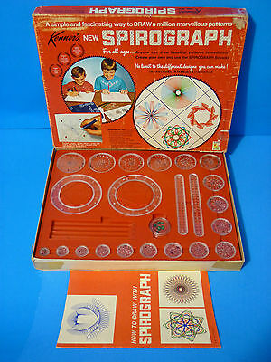 Vintage 1968 Spirograph Set No.401 Drawing Design Toy w/ ALL WHEELS Red Tray