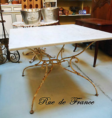 Antique French Wrought Iron And Thick Marble Top Garden Table