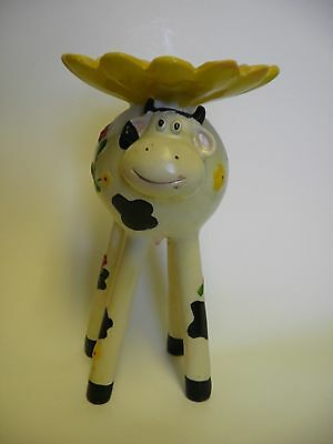 Ceramic Cow with Yellow Sunflower