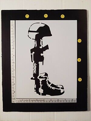 "Battlefield Cross Military Gun Helmet 11"" x 8.5"" Custom Stencil FREE SHIPPING"