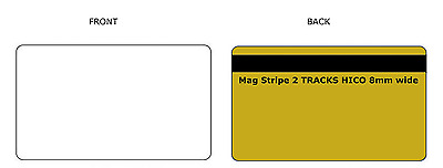 100 PVC BLANK WHITE/GOLD metalic PVC CARDS 30mil credit Card Size 2 Track HiCo