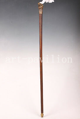 Walking Stick Cane Fortune Toad Frog Bronze Head Wood Vintage Collectable Old
