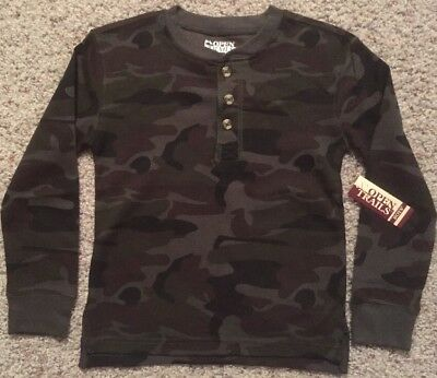 NEW Boys Size S 6-7 Green Camouflage Shirt Long John Hunting Thermal Underwear