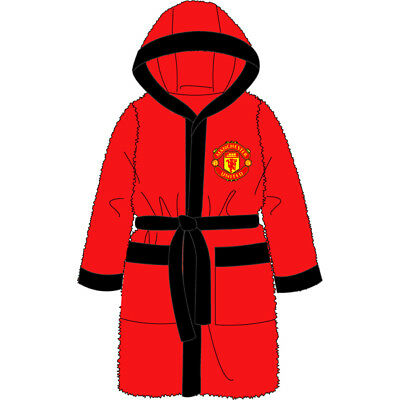 Manchester United Fc Boys Childs Bath Robe Dressing Gown Mufc Age 3-12 Years