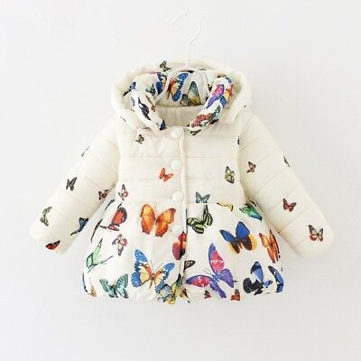0-24M Baby Girls Infant Winter Coat Kids Toddler Cotton Butterfly Jacket Outwear