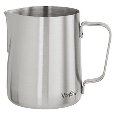 VonShef Stainless Steel Milk Pitcher Suitable for Coffee, Latte & Frothin...