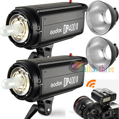 2Pcs Godox DP400II 400W 2.4G Wireless X1 System Flash Strobe Light + X1T Trigger