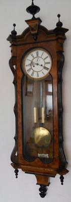 good quality victorian  burr walnut and ebonised 2 weight vienna wall clock
