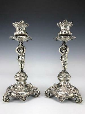 Imposing Pair of Continental Silver Candel Holders. Cir 1880.