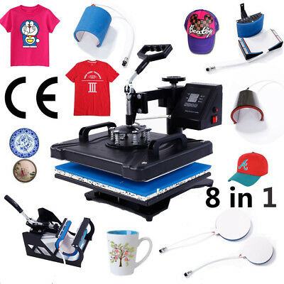 8 in 1 New Heat Press Machine Transfer Sublimation T-Shirt Mug Plate Cap Hat US