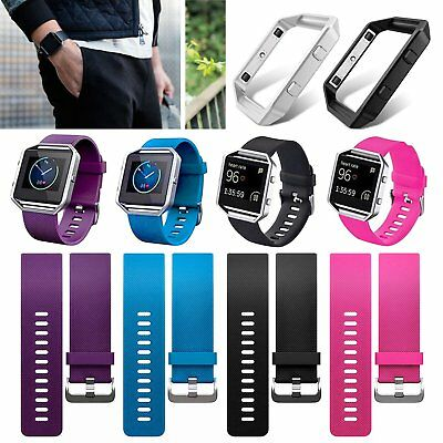 Replacement Sport Wrist band Strap Watch Bracelet + Metal Frame For Fitbit Blaze