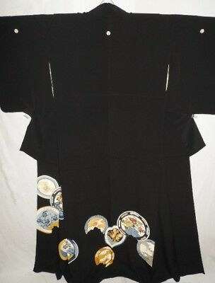 Vintage Japanese Black Crepe Tomesode/Wedding Kimono/Coat 'Imari Plates' 10-14