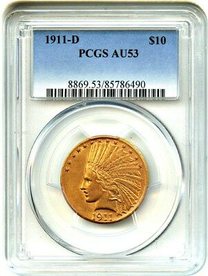 1911-D $10 PCGS AU53 - Key Date - Indian Eagle - Gold Coin - Key Date