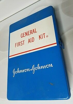 BUY IT NOW! VTG. 60's Johnson & Johnson GENERAL FIRST AID KIT METAL W/ SUPPLIES