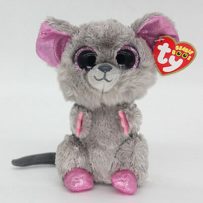 "Ty Beanie Boos 6"" Gray Mice Stuffed Plush Toy Soft Animals Toy Kid Plush Dolls"