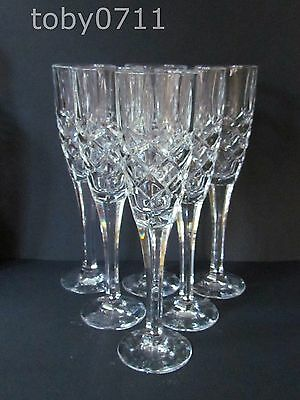 THOMAS WEBB SET OF 6 CHAMPAGNE FLUTES - FACETED STEMS (Ref2222)