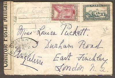 "Morocco WWII Censored Cover to London Postmarked ""Casablanca 6 Jan 1940"""