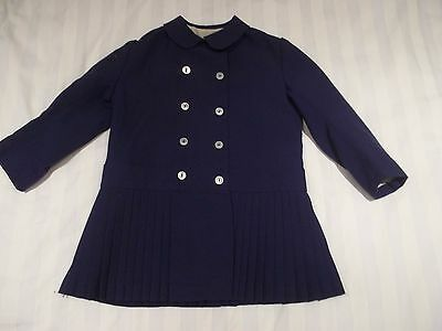 "Retro Vintage 50s 60s Blue Pleated Baby Girls Coat - Terylene - 26"" Chest"