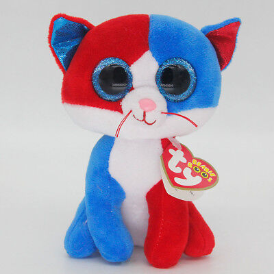 "Ty Beanie Boos 6"" Red-blue Cat Stuffed Plush Toy Soft Animals Toys Kids Dolls"