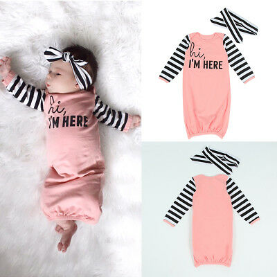 5486dc0e1 BABY GIRL BOY Cotton Gown Outfit Newborn Pajamas Set Sleepwear Baby ...