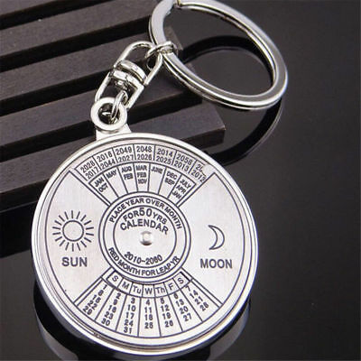 50 Years Metal Perpetual Calendar Sun Moon Compass Keyring Keychain Unique Gift