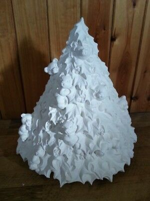 """Ceramic Bisque Teddy Bear Christmas Tree approx. 13"""", Ready to paint or glaze."""