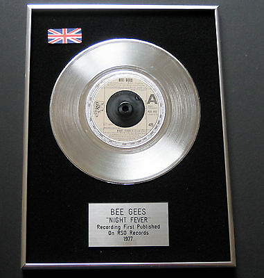 BEE GEES Night Fever PLATINUM SINGLE DISC Presentation