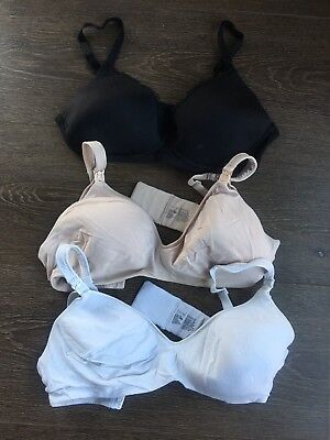 3 X Berlei Maternity Bras 12DD In Black, Nude and White | Great Condition