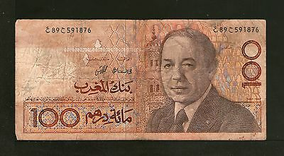 Morocco 100 Dirhams 1987 Poor P. 62,   Banknotes, Circulated