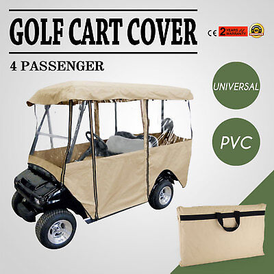 4 Passenger Golf Cart Cover Driving Enclosure PVC Protection Secure Hook