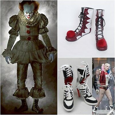 Suicide Squad Costume Stephen King's It Clown Shoes Harley Quinn Highheels Boots