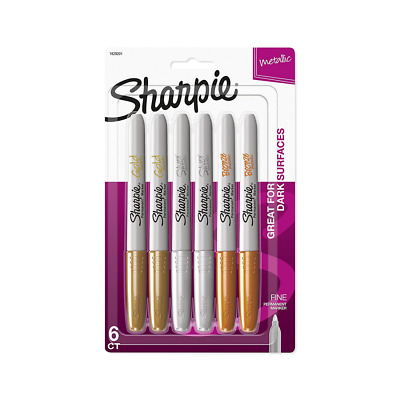 6 Pack Assorted Colors Sharpie Metallic Marker Paint Two Gold Silver AND Bronze
