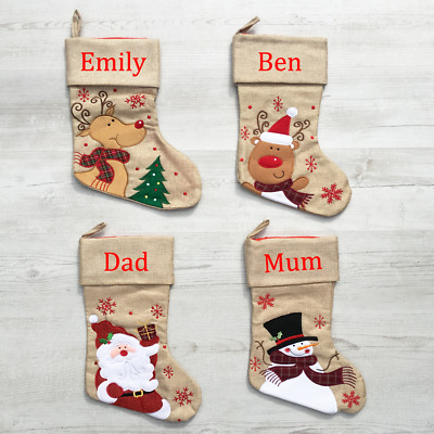 Personalised Embroidered Luxury Christmas Stockings, Santa Snowman Rudolph Brown