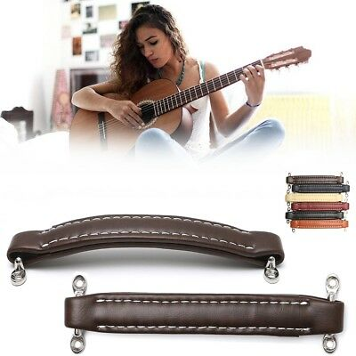 Guitar Amplifier Stitched Leather Handle Strap With Fittings For Fender Amp