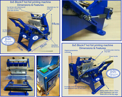 Hot foil printing,stamping machine 8x5 print area, using magnesium or brass dies