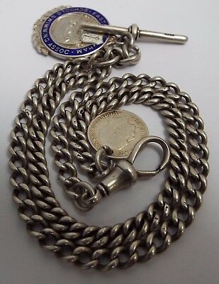 """Nice Long 18"""" English Antique 1915 Solid Sterling Silver Double Albert Chain"""