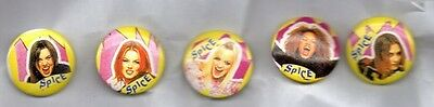 SPICE GIRLS SET OF 5 BUTTON BADGES  ENGLISH GIRL GROUP POP BAND 90s GIRL POWER