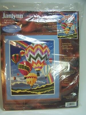 "Longstitich Embroidery Kit  Hot Air Balloons Rainbows 16 x 20"" Reinardy 2000 USA"