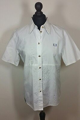 ESCADA MARGARETHA LEY Womens Shirt Sz 38 Classic Chic Cotton Short Sleeve White